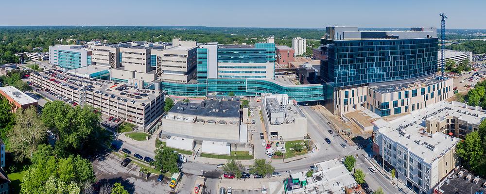 University of Kansas Medical Center campus buildings; Kansas City, Kansas near state line boundary between states of Kansas and Missouri.