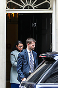 March 17, 2020, London, England, United Kingdom: Home Secretary Priti Patel leaves 10 Downing Street, London,  following a cabinet meeting on Tuesday, Mar 17, 2020 - the day after Prime Minister Boris Johnson called on people to stay away from pubs, clubs and theatres, work from home if possible and avoid all non-essential contacts and travel in order to reduce the impact of the coronavirus pandemic. (Credit Image: © Vedat Xhymshiti/ZUMA Wire)