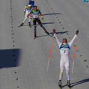 Winter Olympics, Vancouver, 2010.Marcus Hellner, Sweden, wins the Men's 30km Pursuit Cross Country event at Whistler Olympic Park, Whistler, during the Vancouver Winter Olympics. 20th February 2010. Photo Tim Clayton