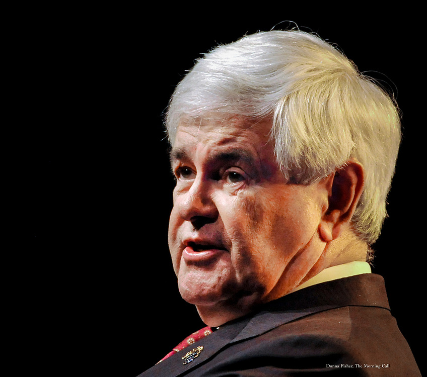 Republican presidential contender Newt Gingrich speaks at the Pennsylvania Leadership Conference in Camp Hill Saturday, March 24, 2012.