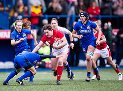 Gwenllian Pyrs of Wales under pressure from Sara Barattin of Italy<br /> <br /> Photographer Simon King/Replay Images<br /> <br /> Six Nations Round 1 - Wales Women v Italy Women - Saturday 2nd February 2020 - Cardiff Arms Park - Cardiff<br /> <br /> World Copyright © Replay Images . All rights reserved. info@replayimages.co.uk - http://replayimages.co.uk
