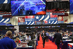 The media filing center is busy before the presidential debate on Sunday, October 9, 2016 at Washington University in St. Louis, Mo. Photo by J.B. Forbes/St. Louis Post-Dispatch/TNS/ABACAPRESS.COM