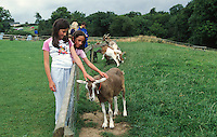two girls petting a goat at a farm centre