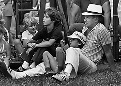Prime Minister Pierre Trudeau  took  his sons to watch the official opening Canada Day ceremonies on Parliament Hill July 1, 1983 in Ottawa. Trudeau was an onlooker for the show, wearing a Panama hat and sneakers along with his three sons Alexandre (Sacha) , Justin and Michel. (CP photo/ Fred Chartrand) /ABACAPRESS.COM  | 521043_009 OTTAWA Canada