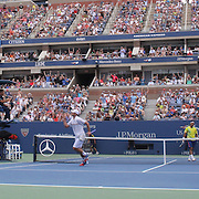 Andy Roddick, USA, celebrates a point against Fabio Fognini, Italy, during the US Open Tennis Tournament, Flushing, New York. USA. 2nd September 2012. Photo Tim Clayton
