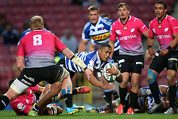 Leolin Zas of Western Province dives over to score a try during the Currie Cup Premier Division match between the DHL Western Province and the Pumas held at the DHL Newlands rugby stadium in Cape Town, South Africa on the 17th September  2016<br /> <br /> Photo by: Shaun Roy / RealTime Images