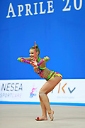 Jung Laura during qualifying at clubs in Pesaro World Cup 11 April 2015. Laura is a German rhythmic gymnastics athlete born on June 25, 1995 in St. Wendel, Germany.
