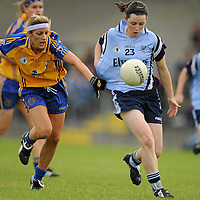 14 August 2010; Lindsey Davey, Dublin, in action against Michelle Delaney, Clare. TG4 Ladies Football All-Ireland Senior Championship Quarter-Final, Clare v Dublin, St Rynagh's, Banagher, Co. Offaly. Picture credit: Brendan Moran / SPORTSFILE *** NO REPRODUCTION FEE ***