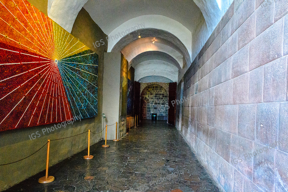 The ceque lines originate at the Qurikancha and travelin straight  pathways, to the edges of the Inca empire