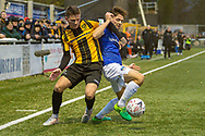 Maidstone United midfielder Jack Paxman (10) and Oldham Athletic defender Rob Hunt (23) during the The FA Cup match between Maidstone United and Oldham Athletic at the Gallagher Stadium, Maidstone, United Kingdom on 1 December 2018. Photo by Martin Cole