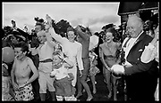 Guests waving goodbye to the bride and groom at the wedding of Charles Fraser to hon. Lucy Pearson. Cowdray Park. 23 July 1988. Film 88715f30<br /> © Copyright Photograph by Dafydd Jones<br /> 66 Stockwell Park Rd. London SW9 0DA<br /> Tel 0171 733 0108