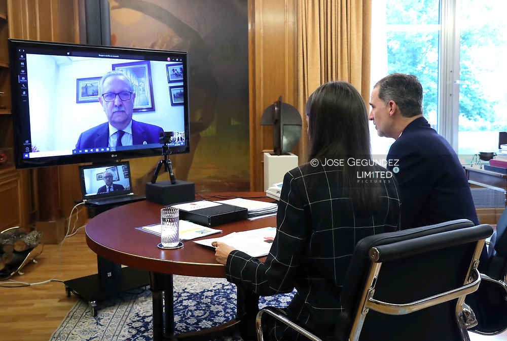 King Felipe VI of Spain, Queen Letizia of Spain attends videoconference with the president of the General Council of Official Medical Colleges at Zarzuela Palace on May 12, 2020 in Madrid, Spain
