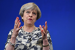 Prime Minister Theresa May speaking at an event at The Space in Norwich while on the General Election campaign trail.