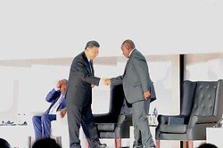 25-07-18 Sandton, Johannesburg. 10th BRICS Summit held at the Sandton Convention Centre. President of the People's Republic of China Xi Jinping  and South African President shake hands after Xi Jinping addressed delegates.<br /> Picture: Karen Sandison/African News Agency (ANA)