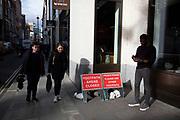 Obviously closed footpath in Soho, London, United Kingdom.