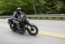 Buck Carson riding his 1925 Harley-Davidson in the Motorcycle Cannonball coast to coast vintage run. Stage-1 (145-miles) from Portland, Maine to Keene, NH. Saturday September 8, 2018. Photography ©2018 Michael Lichter.