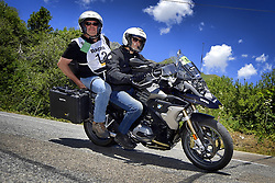 July 19, 2018 - Alpe D'Huez, FRANCE - Belgian Sporza Radio commentator Carl Berteele pictured on the back of a motorcycle during the twelfth stage in the 105th edition of the Tour de France cycling race, 175,5km from Bourg-Saint-Maurice Les Arcs to Alpe d'Huez, France, Thursday 19 July 2018. This year's Tour de France takes place from July 7th to July 29th. BELGA PHOTO YORICK JANSENS (Credit Image: © Yorick Jansens/Belga via ZUMA Press)