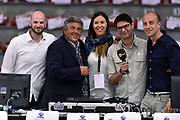 DESCRIZIONE : Sassari Lega A 2014-2015 Banco di Sardegna Sassari Grissinbon Reggio Emilia Finale Playoff Gara 6 <br /> GIOCATORE : Edi Dembinski Stefano Michelini Alice Pedrazzi Maurizio Fanelli<br /> CATEGORIA : tv pregame vip<br /> SQUADRA : tv<br /> EVENTO : Campionato Lega A 2014-2015<br /> GARA : Banco di Sardegna Sassari Grissinbon Reggio Emilia Finale Playoff Gara 6 <br /> DATA : 24/06/2015<br /> SPORT : Pallacanestro<br /> AUTORE : Agenzia Ciamillo-Castoria/GiulioCiamillo<br /> GALLERIA : Lega Basket A 2014-2015<br /> FOTONOTIZIA : Sassari Lega A 2014-2015 Banco di Sardegna Sassari Grissinbon Reggio Emilia Finale Playoff Gara 6<br /> PREDEFINITA :