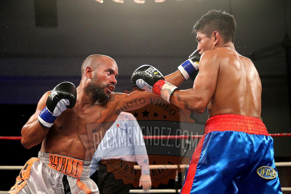 "Jonathan ""Pitbull"" Vidal (Grey shorts) fights Juan Kantun during a ""Boxeo Telemundo"" boxing match at the Kissimmee Civic Center on Friday, July 18, 2014 in Kissimmee, Florida.  Vidal won the bout by TKO. (AP Photo/Alex Menendez)"