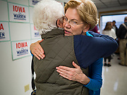 26 NOVEMBER 2019 - KNOXVILLE, IOWA: US Senator ELIZABETH WARREN (D-MA) hugs a supporter after a campaign event in Knoxville Tuesday. Sen. Warren hosted a community meeting at the Sprint Car Hall of Fame and Museum in Knoxville, IA. She is running to be the Democratic candidate for the US Presidency in the 2020 election. Iowa hosts the first selection event of the presidential election season. The Iowa caucuses are February 3, 2020.                  PHOTO BY JACK KURTZ