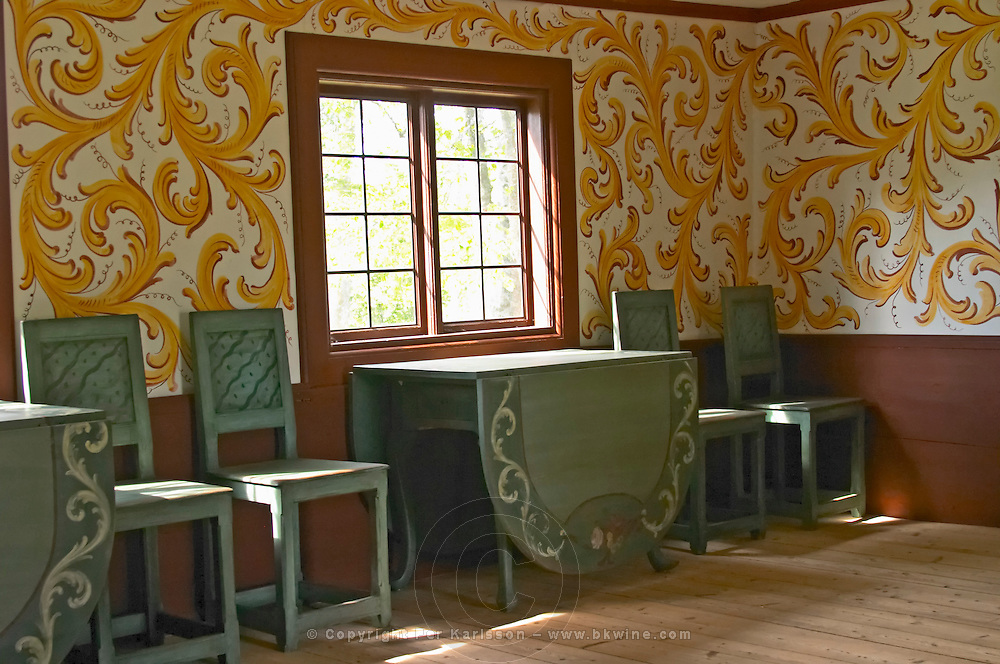 Where Linnaeus was born. Interior with furniture and decoration from that time. The farm at Rashult where Linnaeus was born. Smaland region. Sweden, Europe.