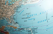 North Atlantic Ocean map on a globe focused on Gulf Stream ocean current and Sargasso Sea