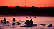 Olympics 2000 - Penrith Lakes, NSW...GBR M4- embark on a early morning training session on semi-final day Rowing Course: Penrith Lakes, NSW. [Mandatory Credit Peter Spurrier, Intersport Images] Sunrise, Sunsets, Silhouettes 2000 Olympic Regatta Sydney International Regatta Centre (SIRC) 2000 Olympic Rowing Regatta00085138.tif