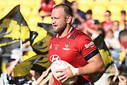 Crusaders Joe Moody runs out for his 100th game in the Super Rugby match, Hurricanes v Crusaders, Sky Stadium, Wellington, Sunday, April 11, 2021. Copyright photo: Kerry Marshall / www.photosport.nz