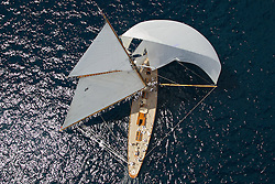 "PALMAVELA 2013. Palma de Mallorca, Spain. Classic Boat ""Moonbeam""  from a helicopter."