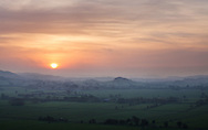 A misty sunrise over the Somerset levels