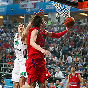 CSKA Moscow's Alexey Shved (R) and Panathinaikos's Dimitrios Diamantidis (L) during their Euroleague Final Four semi final Game 1 basketball match CSKA Moscow's between Panathinaikos at the Sinan Erdem Arena in Istanbul at Turkey on Friday, May, 11, 2012. Photo by TURKPIX