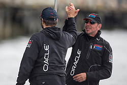Larry Ellison is happy with the win. Oracle Team USA vs. Emirates Team New Zealand, Oracle Team USA wins race 13 After the first race of the day was abandoned because they reached the time limit of 40 minutes while ETNZ was leading and looked like to win the the America's Cup, Score is now 8-3 in favor of ETNZ. September 20th, San Francisco.