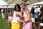 YASMIN MILLS; LADY VICTORIA HERVEY, Cartier International Polo. Smiths Lawn. Windsor. 24 July 2011. <br /> <br />  , -DO NOT ARCHIVE-© Copyright Photograph by Dafydd Jones. 248 Clapham Rd. London SW9 0PZ. Tel 0207 820 0771. www.dafjones.com.