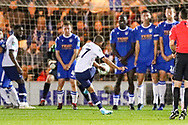 Tottenham Hotspur midfielder Lucas Moura (27) takes a free kick during the EFL Cup match between Colchester United and Tottenham Hotspur at the JobServe Community Stadium, Colchester, England on 24 September 2019.