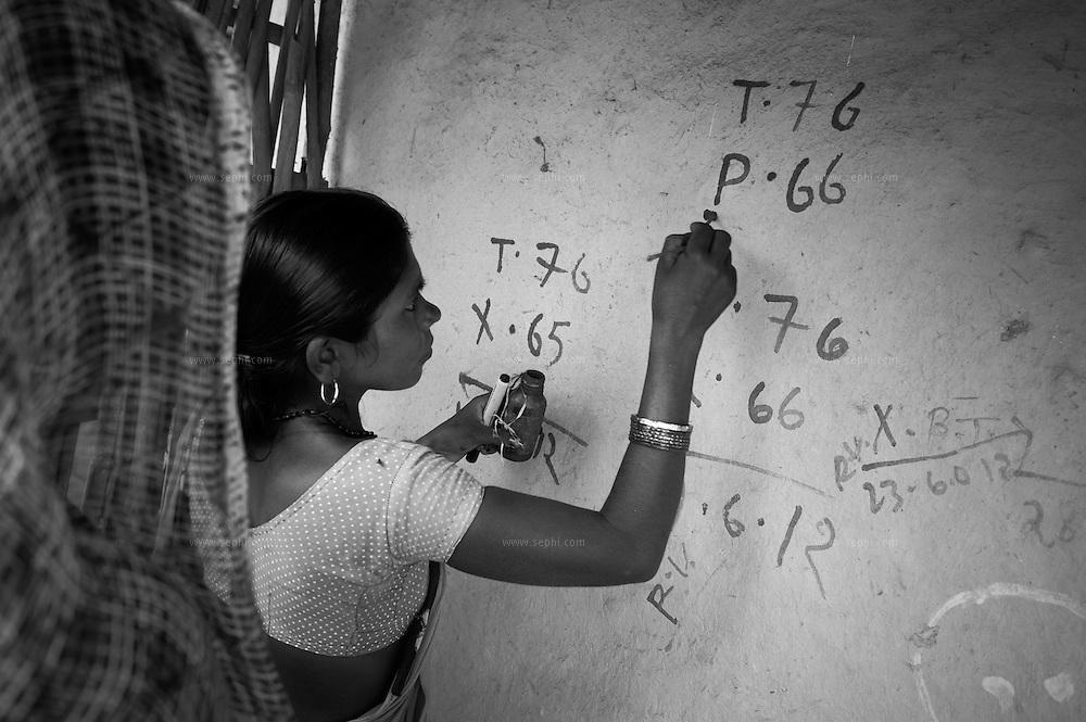 House marking during a house-to-house immunization at a Muslim village. Raniganj block, Araria district, Bihar