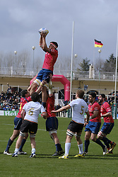 March 11, 2018 - Madrid, Madrid, Spain - Spanish National rugby team's  in action against Germany during their Men's 2108 Rugby Europe International Championships match Spain vs. Germany at Complutense University's Central pitch in Madrid, Spain, 11 March 2018  (Credit Image: © Oscar Gonzalez/NurPhoto via ZUMA Press)