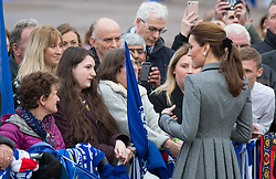 Catherine, Duchess of Cambridge meets the public during a visit to pay tribute to Vichai Srivaddhanaprabha,  the chairman of Leicester City Football Club,  and the others who were tragically killed in the helicopter crash while leaving the King Power Stadium.<br />November 28, 2018