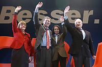 12 JAN 2003, BRAUNSCHWEIG/GERMANY:<br /> Angela Merkel, CDU Bundesvorsitzende, Christian Wulff, CDU Landesvorsitzender Niedersachsen, seine Ehefrau Christiane Wulff, Edmund Stoiber, CSU, Ministerpraesident Bayern, (v.L.n.R.), Wahlkampfauftakt der CDU Niedersachsen zur Landtagswahl, Volkswagenhalle<br /> IMAGE: 20030112-01-002<br /> KEYWORDS: Spitzenkandidat