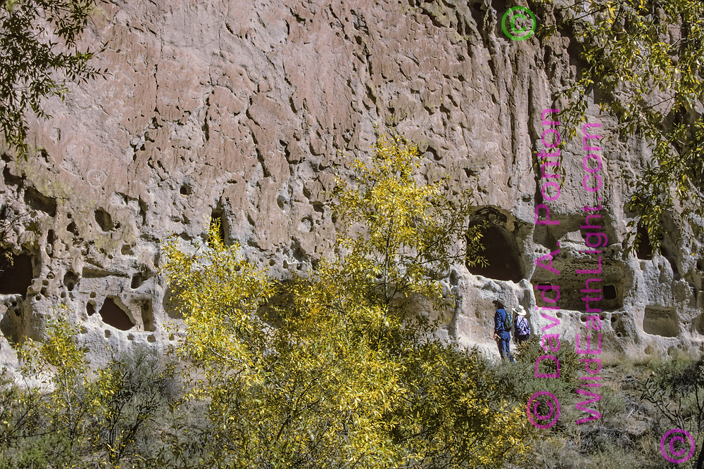 Tourists examine numerous cavate (excavated caves) created and used by Ancestral Puebloan Peoples at Longhouse Ruin, Bandelier National Monument, Jemez Mountains, New Mexico, © David A. Ponton