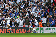 Tranmere Rovers Connor Jennings(11) scores a goal 1-1 and celebrates during the Vanarama National League Play Off Final match between Tranmere Rovers and Forest Green Rovers at Wembley Stadium, London, England on 14 May 2017. Photo by Shane Healey.