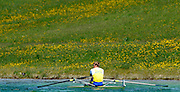 Munich, GERMANY,  SWE M1X , Lassi KARONEN, moves down towards the start for the men's  single scull semi final. FISA World Cup at the Munich Olympic Rowing Course,   09/05/2008  [Mandatory Credit Peter Spurrier/ Intersport Images] Rowing Course, Olympic Regatta Rowing Course, Munich, GERMANY
