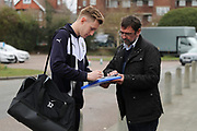 AFC Wimbledon striker Joe Pigott (39) arriving and signing autographs during the EFL Sky Bet League 1 match between AFC Wimbledon and Oxford United at the Cherry Red Records Stadium, Kingston, England on 10 March 2018. Picture by Matthew Redman.