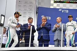 September 30, 2018 - Sochi, Russia - Motorsports: FIA Formula One World Championship 2018, Grand Prix of Russia,    Vladimir Putin, President of Russia on the podium  (Credit Image: © Hoch Zwei via ZUMA Wire)