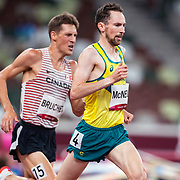 TOKYO, JAPAN August 3:   David McNeill of Australia and Luc Bruchet of Canada in action during the Men's 5000m round one heat one race at the Olympic Stadium during the Tokyo 2020 Summer Olympic Games on August 3rd, 2021 in Tokyo, Japan. (Photo by Tim Clayton/Corbis via Getty Images)