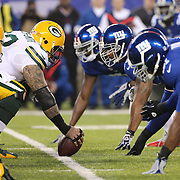 The line of scrummage during the New York Giants Vs Green Bay Packers, NFL American Football match at MetLife Stadium, East Rutherford, New Jersey, USA. 17th November 2013. Photo Tim Clayton