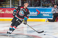 KELOWNA, CANADA - SEPTEMBER 28: Connor Bruggen-Cate #20 of Kelowna Rockets warms up with the puck against the Prince George Cougars on September 28, 2016 at Prospera Place in Kelowna, British Columbia, Canada.  (Photo by Marissa Baecker/Shoot the Breeze)  *** Local Caption *** Connor Bruggen-Cate;