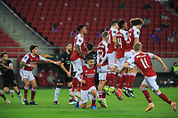 PIRAEUS, GREECE - FEBRUARY 25: Players of Arsenal FC moments before the equaliser during the UEFA Europa League Round of 32 match between Arsenal FC and SL Benfica at Karaiskakis Stadium on February 25, 2021 in Piraeus, Greece. (Photo by MB Media)