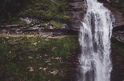 THEMENBILD - zwei Wanderer auf einem Weg hinter dem Wasserfall waehrend einer Wanderung entlang des Wasserfallweges, aufgenommen am 28. Juli 2019 in Fusch a. d. Grossglocknerstrasse, Oesterreich // two Hikers on a trail behind the waterfall during a hike along the waterfall trail in Fusch a. d. Grossglocknerstrasse, Austria on 2019/07/28. EXPA Pictures © 2019, PhotoCredit: EXPA/ JFK