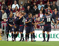 Photo: Kevin Poolman.<br />Northampton Town v Nottingham Forest. Coca Cola League 1. 12/08/2006. Grant Holt (2nd from left) celebrates his goal with other Forest players.