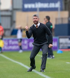 Motherwell's manager Stephen Robinson cele as Danny Johnson (24) scored their first goal. Dundee 1 v 3 Motherwell, SPFL Ladbrokes Premiership game played 1/9/2018 at Dundee's Kilmac stadium Dens Park